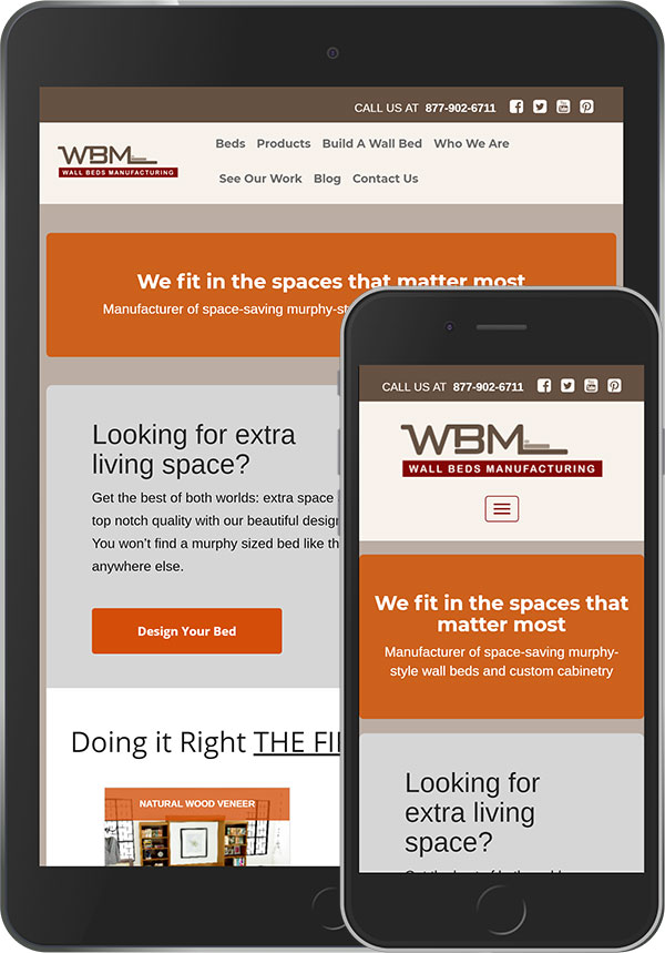 Site view on Tablet and Mobile