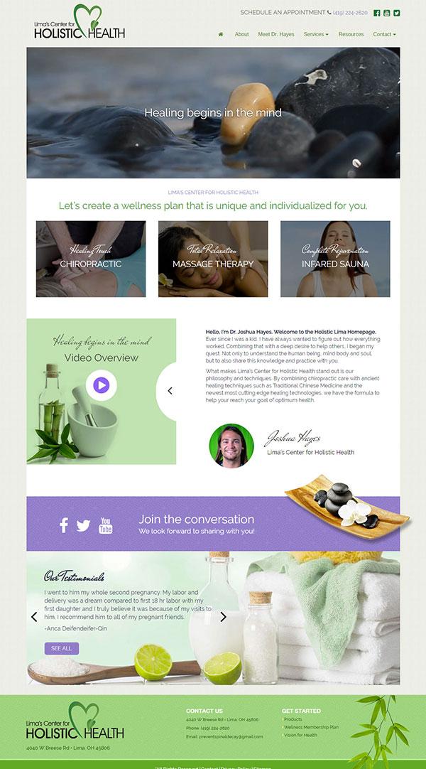 Wellness website home page