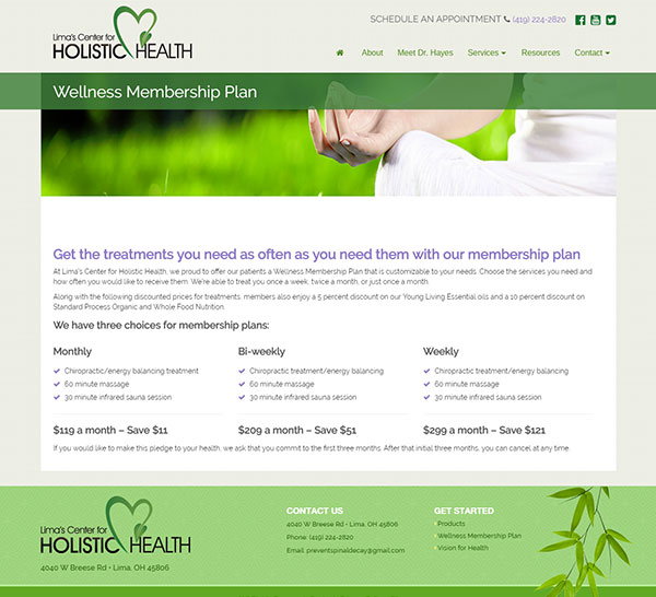 Wellness website other page