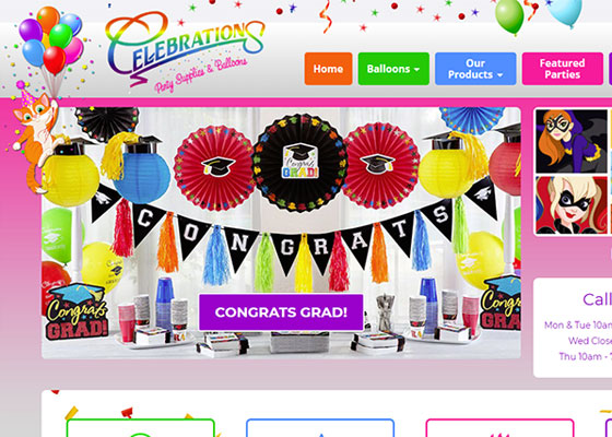 Party supplies website